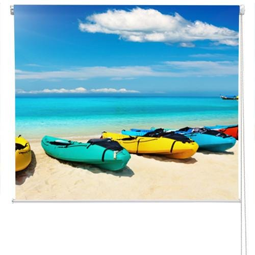 Kayaks on the Beach Printed Photo Picture Roller Blind - RB58 - Art Fever - Art Fever
