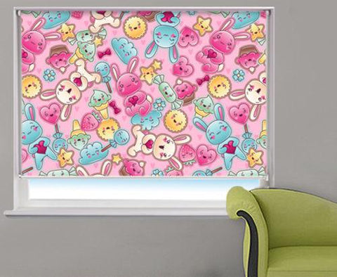 Kids Cartoon Pink Bunny Bears Printed Picture Photo Roller Blind - RB532 - Art Fever - Art Fever