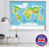 Kids cartoon World Map with Animals Printed Picture Photo Roller Blind - RB786 - Art Fever - Art Fever