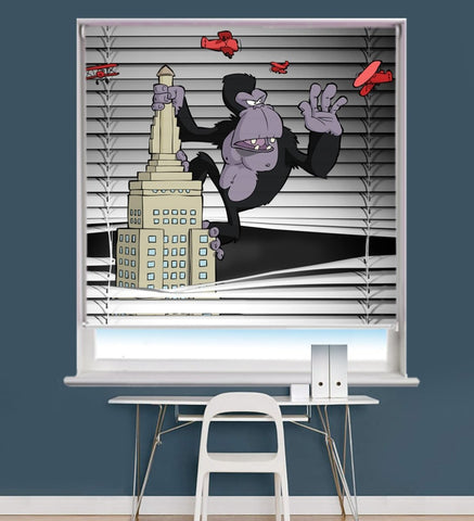 King Kong on a Skyscraper Peeking through the blind Printed Picture Photo Roller Blind - RB710 - Art Fever - Art Fever