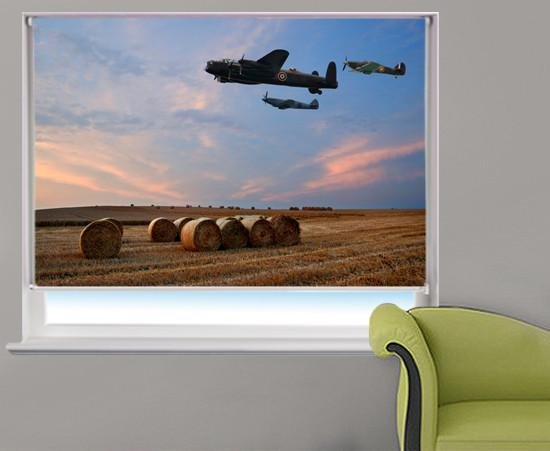 Lancaster bomber over the Hay Bales at sunset Printed Picture Photo Roller Blind - RB237 - Art Fever - Art Fever