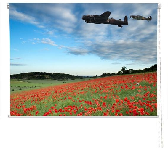 Lancaster bomber over the stunning red poppy field Printed Picture Photo Roller Blind - RB238 - Art Fever - Art Fever