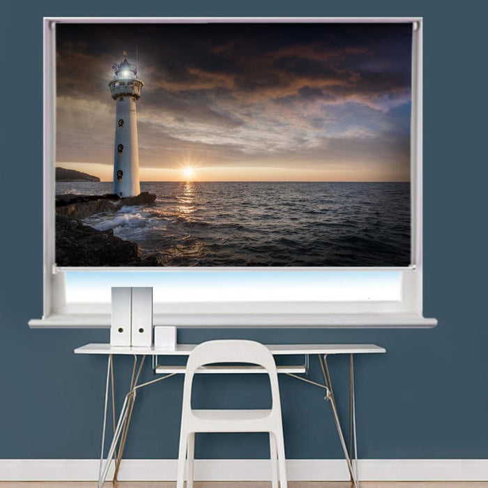 Lighthouse Glow Evening Printed Picture Roller Blind - RB734 - Art Fever - Art Fever