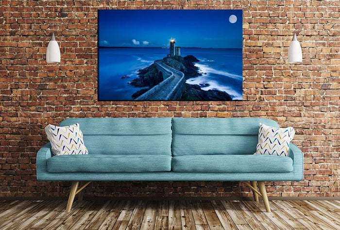 Lighthouse & Moon Scene Image Printed Onto A Single Panel Canvas - SPC20 - Art Fever - Art Fever