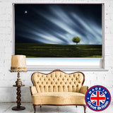 Lonely Green Tree under the Moon Printed Picture Photo Roller Blind - RB616 - Art Fever - Art Fever