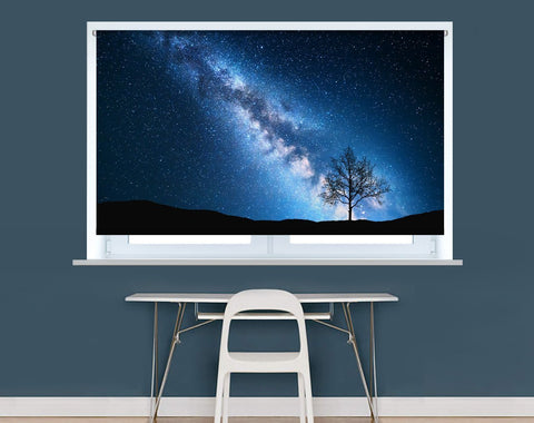 Lonely tree under Milky way & night sky Image Printed Roller Blind - RB965 - Art Fever - Art Fever