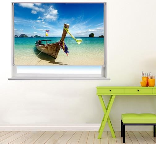 Long boat on Thailand beach Printed Photo Picture Roller Blind - RB52 - Art Fever - Art Fever