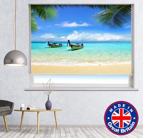 Long Boats Tropical Thailand Printed Picture Photo Roller Blind - RB632 - Art Fever - Art Fever