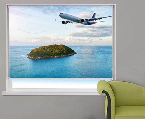 Lost island Plane Printed Picture Photo Roller Blind - RB279 - Art Fever - Art Fever
