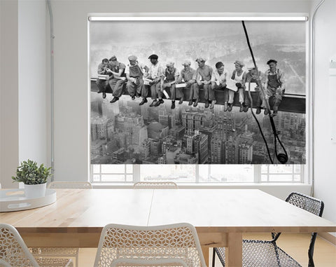 Lunch atop a Skyscraper Printed Roller Blind - RB1119 - Art Fever - Art Fever