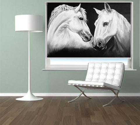 Madly Deeply | Two White Horses by Pam Morton Printed Picture Roller Blind - RB867 - Art Fever - Art Fever