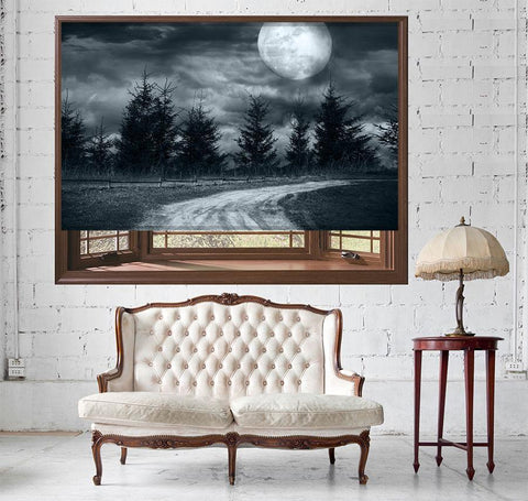 Magic landscape Forest with Full Moon Printed Picture Photo Roller Blind - RB509 - Art Fever - Art Fever