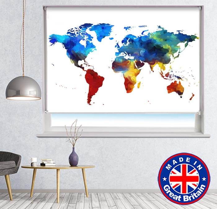 Map of the World Paint Brush Style Printed Picture Photo Roller Blind - RB780 - Art Fever - Art Fever