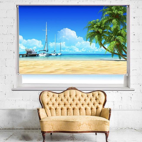 Marina pier and tropical palms Printed Photo Picture Roller Blind - RB505 - Art Fever - Art Fever