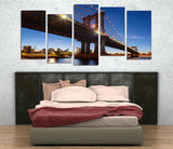MCP7 - Brooklyn Bridge at Night Multi Panel Canvas Print - Art Fever - Art Fever