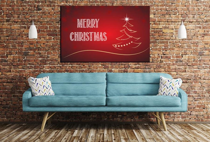 Merry Christmas Image Printed Onto A Single Panel Canvas - SPC118 - Art Fever - Art Fever