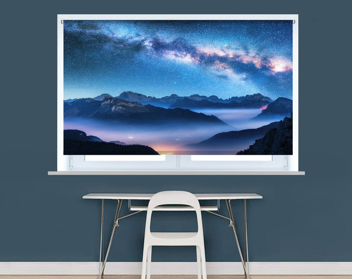 Milky way over the foggy mountains Image Printed Roller Blind - RB966 - Art Fever - Art Fever