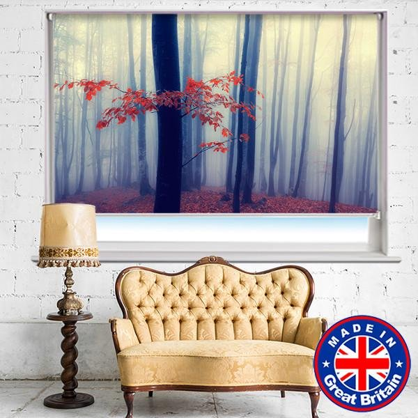 Misty Red Forest Printed Picture Photo Roller Blind - Art Fever - Art Fever