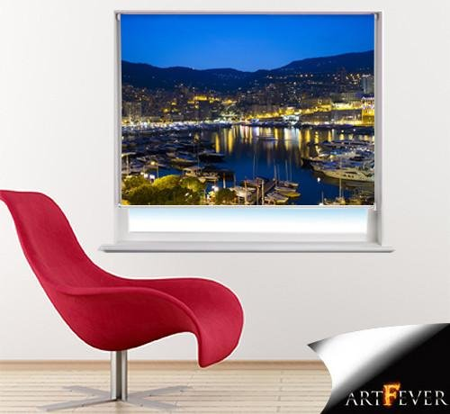 Monaco Harbour at Night Printed Picture Photo Roller Blind - RB40 - Art Fever - Art Fever