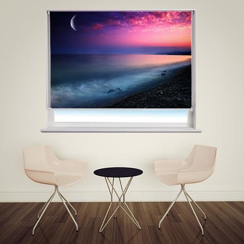 Moon and Stars over the Sea at Night Printed Picture Photo Roller Blind - RB210 - Art Fever - Art Fever