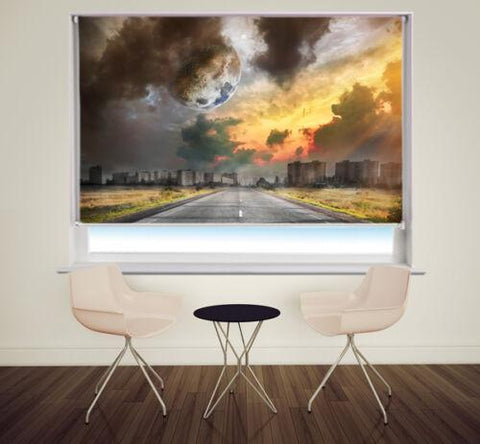 Moon in the Sky Landscape Dystopian World Printed Picture Photo Roller Blind - RB993 - Art Fever - Art Fever