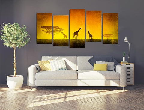 MPC5 - Five Giraffes at Sunset in the Masai Mara Multi Panel Canvas Print - Art Fever - Art Fever