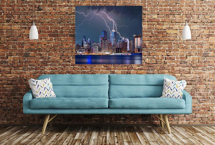 New York City Lightning Scene Image Printed Onto A Single Panel Canvas - SPC84 - Art Fever - Art Fever