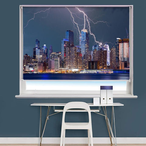New York City Lightning Scene Image Printed Roller Blind - RB824 - Art Fever - Art Fever