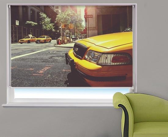 New York Taxi in Time Square Printed Picture Photo Roller Blind - RB301 - Art Fever - Art Fever