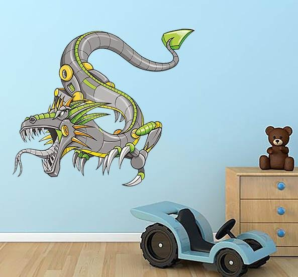 NS35 - large Green Robot Cyborg Dragon Wall Sticker - Art Fever - Art Fever