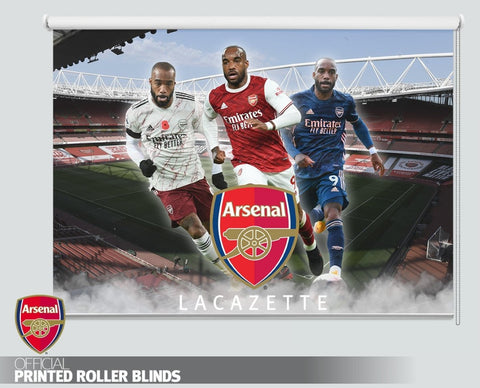 Official Arsenal F.C. Alexandre Lacazette Three Kit Design 2020 Printed Roller Blind - RB1040 - Art Fever - Art Fever