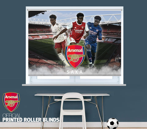Official Arsenal F.C. Bukayo Saka Three Kit Design 2020 Printed Roller Blind - RB1041 - Art Fever - Art Fever