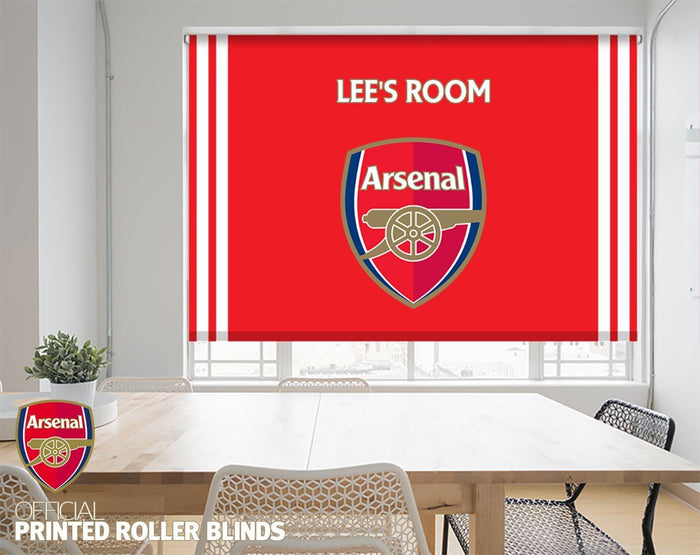 Official Arsenal F.C. Crest Boys/Girls Customised Name Printed Roller Blind - RB877 - Art Fever - Art Fever