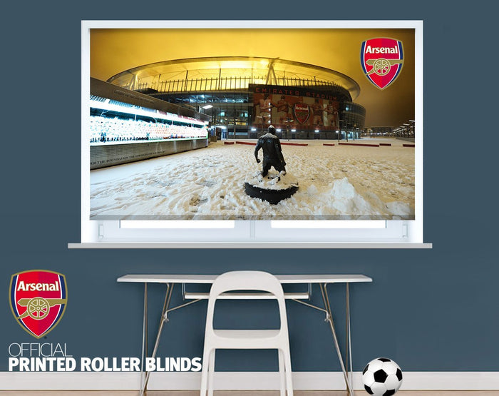 Official Arsenal F.C. Emirates Stadium Snow Scene Image Printed Roller Blind - RB922 - Art Fever - Art Fever