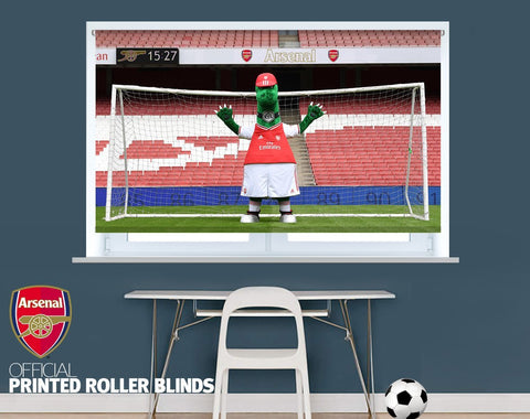 Official Arsenal F.C. Gunnersaurus Goalkeeper Image Printed Roller Blind - RB925 - Art Fever - Art Fever