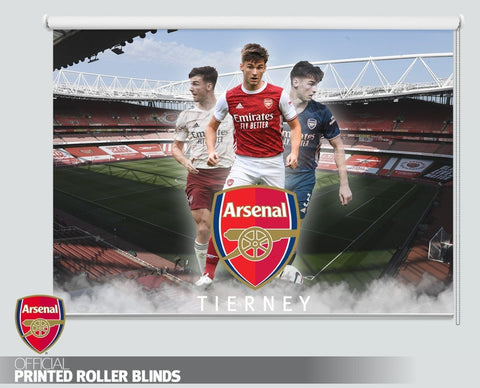 Official Arsenal F.C. Kieran Tierney Three Kit Design Printed Roller Blind - RB1030 - Art Fever - Art Fever