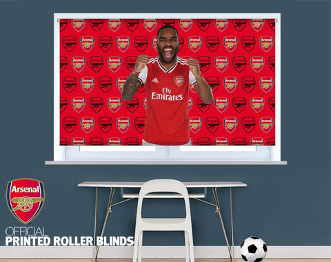Official Arsenal F.C. Lacazette Double Crest Background Printed Roller Blind - RB889 - Art Fever - Art Fever