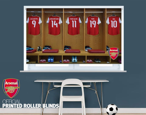 Official Arsenal F.C. Personalised Kit Changing Room Image Printed Photo Roller Blind - RB886 - Art Fever - Art Fever