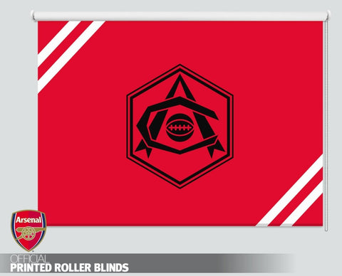 Official Arsenal F.C. Retro Art Deco Black Crest Printed Roller Blind - RB1105 - Art Fever - Art Fever