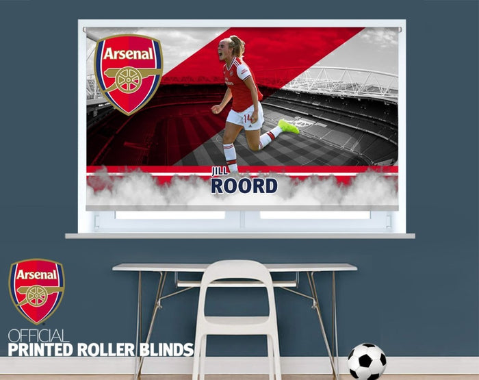 Official Arsenal Woman's F.C. Jill Roord Player Design Printed Roller Blind - RB921 - Art Fever - Art Fever