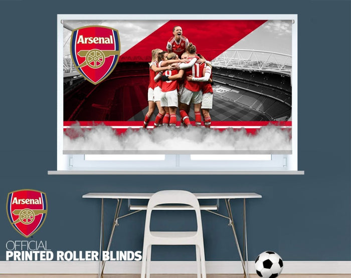 Official Arsenal Woman's F.C. Team Celebration Design Printed Roller Blind - RB919 - Art Fever - Art Fever