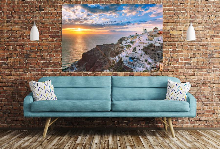 Oia Or Ia At Sunset, Santorini, Greece Image Printed Onto A Single Panel Canvas - SPC18 - Art Fever - Art Fever