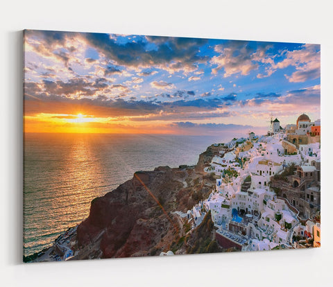 Oia Or Ia At Sunset, Santorini, Greece Printed Canvas Print Picture - SPC159 - Art Fever - Art Fever
