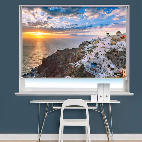Oia Or Ia At Sunset, Santorini, Greece Printed Photo Picture Roller Blind - RB729 - Art Fever - Art Fever