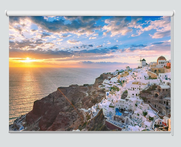 Oia Or Ia At Sunset, Santorini, Greece Printed Picture Roller Blind - RB997 - Art Fever - Art Fever