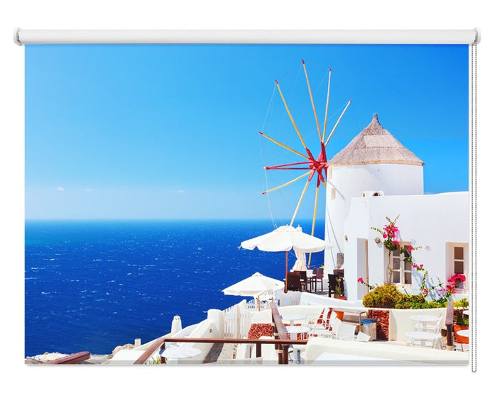 Oia Town On Santorini Island Printed Picture Photo Roller Blind - RB1088 - Art Fever - Art Fever