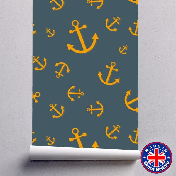 Orange and Blue Anchor Pattern Marine Style Self Adhesive Wallpaper - WM632 - Art Fever - Art Fever