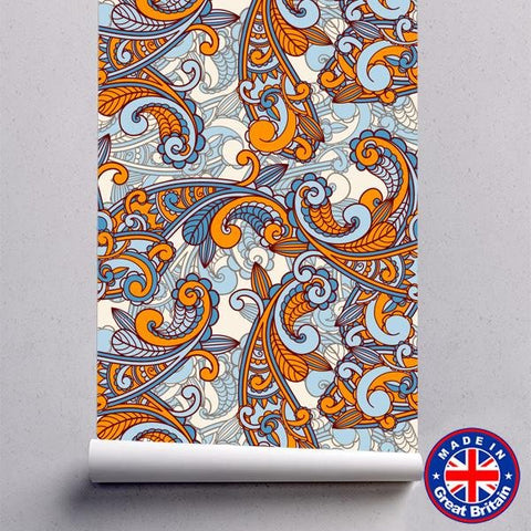 Orange & Blue Paisley Pattern Removable Self Adhesive Wallpaper - WM608 - Art Fever - Art Fever