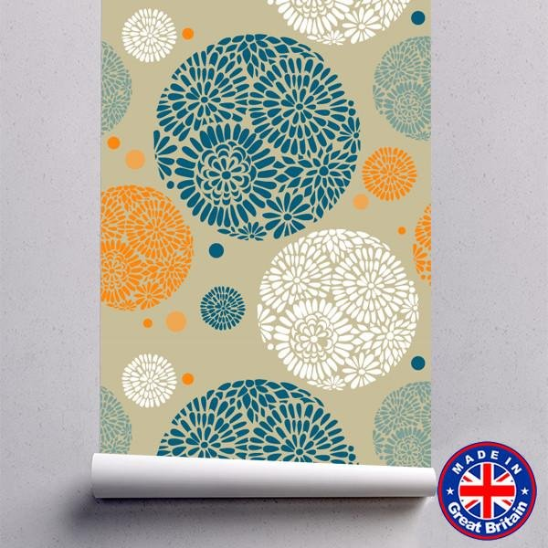 Orange, Cream & Blue Retro Floral Pattern Removable Self Adhesive Wallpaper - WM615 - Art Fever - Art Fever