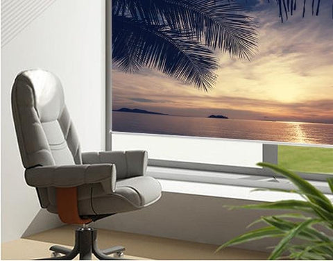 Palm tree view at sunset Tropical Printed Picture Photo Roller Blind - RB73 - Art Fever - Art Fever